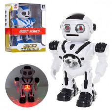 Robot Space Warrior svítí chodí háže disky